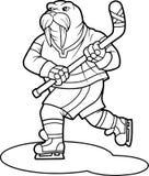 Funny walrus plays hockey Royalty Free Stock Image
