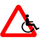 Funny warning road sign wheelchair icon riding away isolated Stock Image