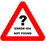 Funny warning sign error 404 page not found. Isolated on white Royalty Free Stock Photography
