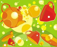 Funny washing. Vector drawing of cups, plates and teapot and washing bubbles Royalty Free Stock Photos