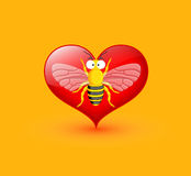 Funny Wasp Isolated on Heart Stock Images