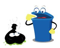 Funny Waste and a Bin Royalty Free Stock Photo