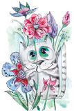 Funny Watercolor Cat with Flowers Stock Photo