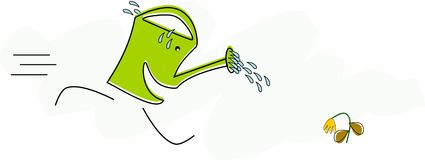 Funny watering can runs to a drying up flower. Funny watering can runs to a drying up flower Vector Illustration