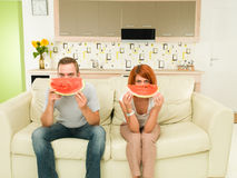 Funny watermelon faces Stock Photos