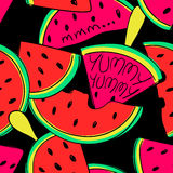 Funny Watermelon slices seamless pattern. Stock Images