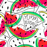 Funny Watermelon slices seamless pattern. Royalty Free Stock Photo