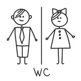 Funny wc door plate symbols. WC sign.oilet door plate icon. Gents and ladies WC sign for restroom. Funny wc door plate symbols. WC sign. Toilet door plate icon Royalty Free Stock Photo