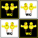 Funny WC-set with Chicken royalty free illustration