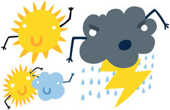 Funny Weather Icon Characters Stock Images