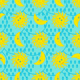 Funny weather pattern with sun, moon and raindrops Royalty Free Stock Photography