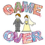 Funny wedding, Game Over. Stock Images