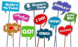 Funny weddings phrases, brides team vector photo props Royalty Free Stock Images