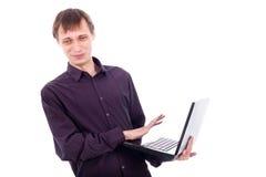 Funny weirdo man with laptop. Funny weirdo man holding laptop, isolated on white background Stock Photography
