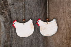 Funny Welcome White Chicken Country Cottage Kitchen Wood Shape D Royalty Free Stock Image