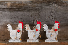 Funny Welcome White Chicken Rooster Country Cottage Kitchen Wood Stock Photo