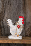 Funny Welcome White Chicken Rooster Country Cottage Kitchen Wood Stock Image