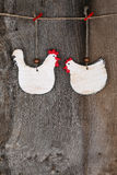 Funny Welcome White Chicken Rooster Country Cottage Kitchen Wood Royalty Free Stock Images