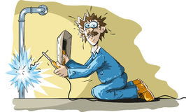 Funny welder. Illustration of funny welder who is blinded by light Royalty Free Stock Photography