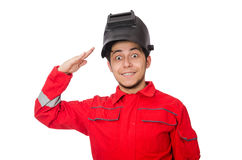 Funny welder isolated on white Stock Image