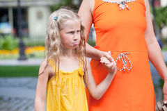 Funny wet offended little girl Royalty Free Stock Photo