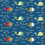 Funny whales seamless pattern Royalty Free Stock Photo