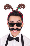 Funny whiskered man with horns isolated on white Royalty Free Stock Photography
