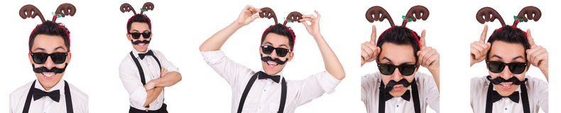 The funny whiskered man with horns isolated on white Stock Photography