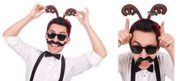 The funny whiskered man with horns isolated on white Royalty Free Stock Images