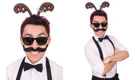 The funny whiskered man with horns isolated on white Royalty Free Stock Photo