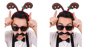 The funny whiskered man with horns isolated on white Royalty Free Stock Photography