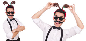 The funny whiskered man with horns isolated on white Royalty Free Stock Photos
