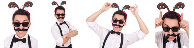 The funny whiskered man with horns isolated on white Stock Photos
