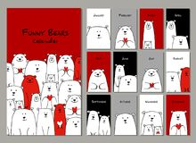 Funny white bears family. Design calendar 2018 royalty free stock images