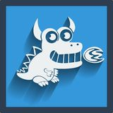 Funny white dragon in flat design on blue. Vector. Stock Image