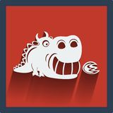 Funny white dragon in flat design on red. Vector. Royalty Free Stock Image
