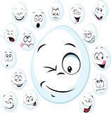 Funny white egg with face - vector cartoon Royalty Free Stock Photography