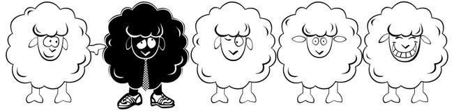 Funny  white lamb and a black lamb. Royalty Free Stock Photos