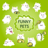 Funny white pets icon on a green background Stock Photos