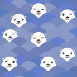 Funny white Polar Bear in blue water, sea waves Seamless pattern, background. Kawaii faces. Vector illustration.  stock illustration