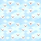 Funny white Polar Bear in light blue water, sea waves Seamless pattern, background. Kawaii faces. Vector illustration.  stock illustration
