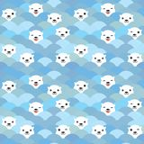 Funny white Polar Bear in light blue water, sea waves Seamless pattern, background. Kawaii faces. Vector illustration.  vector illustration