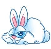 Funny white rabbit cartoon illustration. Funny white rabbit big eyes cartoon illustration mage animal character Royalty Free Stock Image