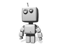A funny white robot isolated on white background. Royalty Free Stock Photo