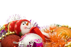 Funny white snowman and Xmas decoration Stock Image