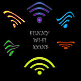 Funny Wi-Fi icons Royalty Free Stock Photos