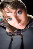 Funny wide angle woman studio portrait Royalty Free Stock Images