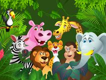 Funny wild African animal cartoon Royalty Free Stock Image