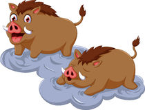 Funny wild boar cartoon sitting with her baby Royalty Free Stock Photography