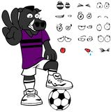 Funny Wild boar soccer cartoon expressions set Stock Photos